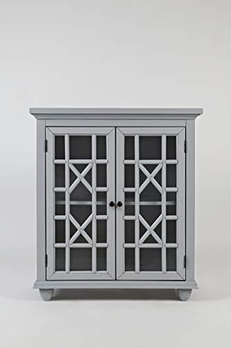 Benzara BM181632 Double Door Wooden Storage Chest with Intricated Front Panels, Gray, Wood