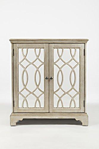 Benzara BM181639 Wooden Accent Cabinet with Glass Intricated Doors, Brown and Silver