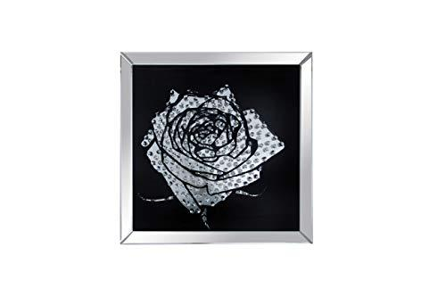 Benzara BM184760 Classy Rose Framed Art with Mirror Accent, Black and Silver