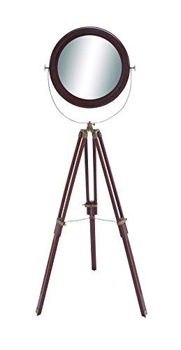 Benzara Wood Round Floor Mirror with Foldable Tripod Legs