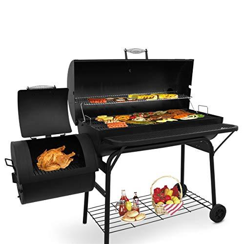 Beofine BBQ Charcoal Grills with 2 Grilling Racks Charcoal Barbecue Grill Racks with Rolling Wheels Meat Cooker Smoke for Patio Backyard Home