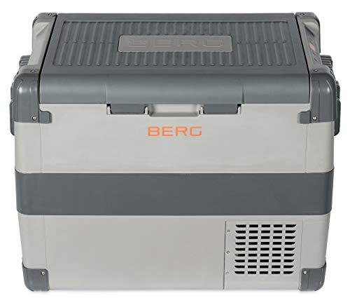 BERG 60 Litre Electric Large Portable Compressor Fridge Freezer Cool Box - Camping, Beach, Festival (Grey 60L)