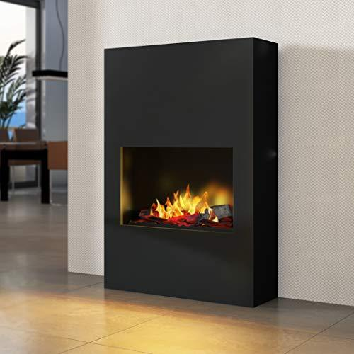 Bergamo Torretta - Opti-Myst Electric Fireplace Fire Chimney - Wall Standmontage - with Heating - with Gravel Bed and Black Stones - Black - without Base