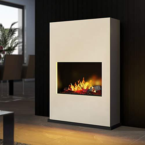 Bergamo Torretta - Opti-Myst Electric Fireplace Fire Chimney - Wall Standmontage - with Heating - with Gravel Bed and Black Stones - White - with Base