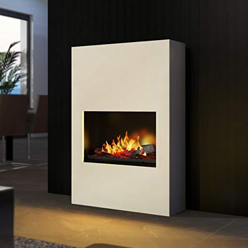 Bergamo Torretta - Opti-Myst Electric Fireplace Fire Chimney - Wall Standmontage - with Heating - with Gravel Bed and Black Stones - White - without Base