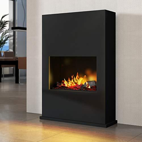 Bergamo Torretta - Opti-Myst Electric Fireplace Fire Chimney - Wall Standmontage - with Heating - with Gravel Bed and White Stones - Black - with Base