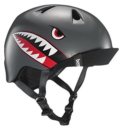 Bern Kids' Nino With Flip Visor Cycling Helmet, Grey Flying Tiger, X Small