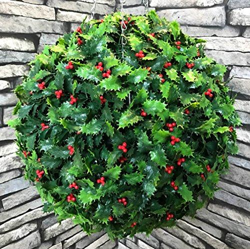 Christmas Topiary.Best Artificial Tm 36cm Holly Ball Christmas Topiary Xmas Hanging Basket