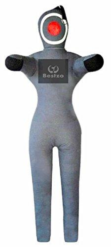 Bestzo MMA Jiu Jitsu Judo Punching Bag Grappling Dummy Gray Standing position Synthetic Leather- 59 inches