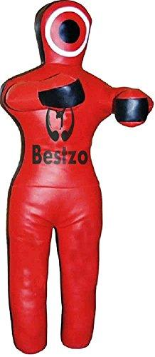 Bestzo MMA Martial Arts Brazilian Grappling Dummy Punching bag-Standing Position Black/red Synthetic Leather- 48 inches