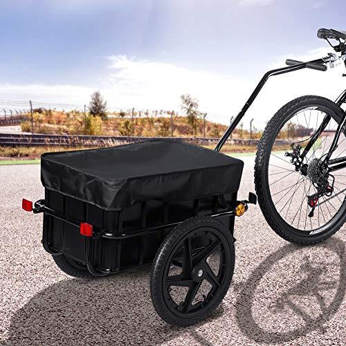 Bicycle Trailer, Coupling Penumatic Tires Cargo Luggage with Cover Bicycle Handle Drawba 70L with Lamp for Safety