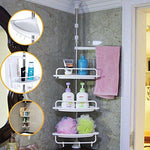 Bid Buy Direct® 4-Tier Bathroom Shelving Shower Corner Shelf - Adjustable Telescopic Bathroom Organiser - Fits From Ceiling to Floor - Rust-Proof Durable Construction