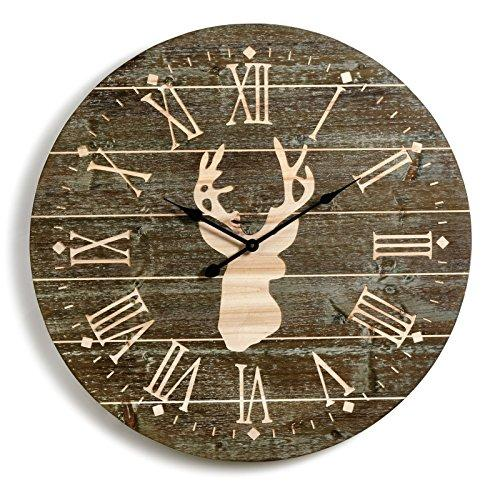 Big Sky Carvers Rustic Large Whitetail Deer Wooden Wall Clock 31.5D