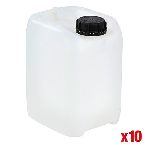 BiGDUG Plastic 5 Litre Jerry Can Petrol Drum Stackable Storage Fuel Liquids Food Container - Packs Available (Packs Of 10 - Natural 5 Litre Jerrycans)
