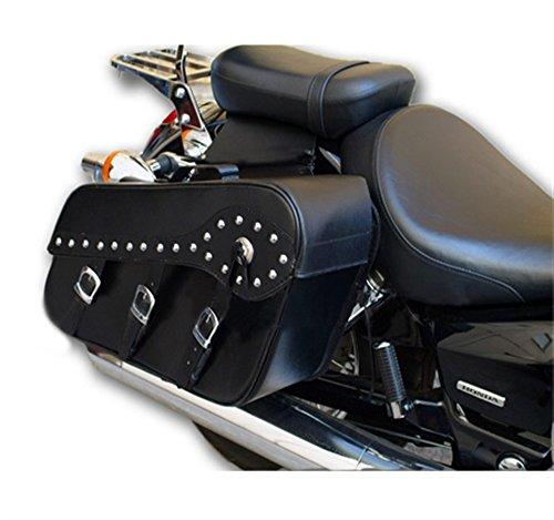 Bikers Gear Motorcycle Studded Front 3 Buckle Harley Style PU Leather saddle Bags Luggage