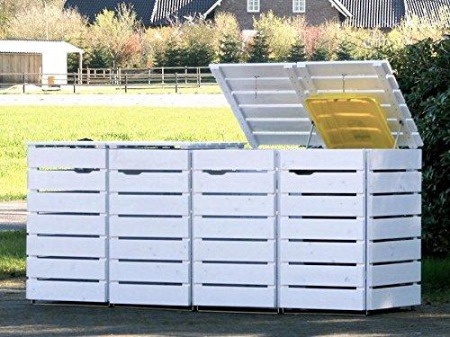 /bin store Double Wheelie Bin Screen 120 L 4/Oiled Covering White