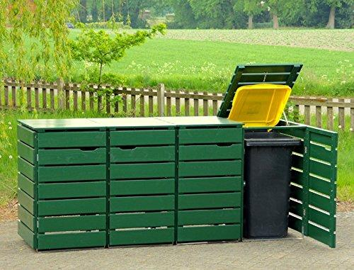 /bin store Double Wheelie Bin Screen 240 L 4/Solid Oiled Pine Green