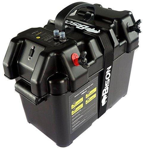 Bison BATTERY BOX CARRIER WITH USB CHARGER, LED METER, BREAKER & 12V SOCKET
