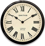 Black Country Metal Works 50cm 'Smiths London' Station Clock Inspired Wall Clock with Roman Numerals - 8cm Projection
