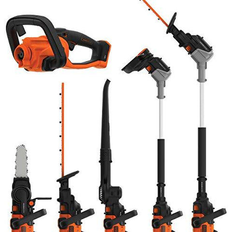 Black + Decker BCASK8967D2GB Seasonmaster Cordless Multi-Tool with Hedge Trimmer, Strimmer, Chainsaw and Leaf Blower