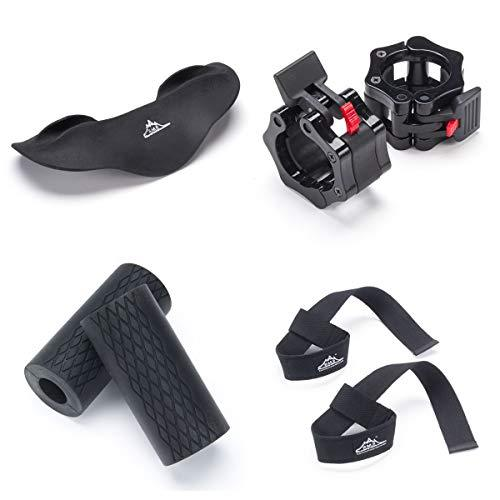 Black Mountain Products Weight Lifting Kit for Barbells and Dumbbells - Thick Grips Squat Pad Barbell Collars and Lifting Straps