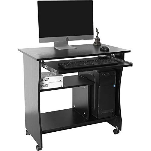 Black Movable Computer, Laptop Home Office Desk and Table with Keyboard Shelf- Piranha Furniture Discus