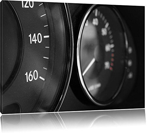Black speedometer, painting on canvas, huge XXL Pictures completely framed with stretcher, art print on mural with frame, cheaper than painting or oil painting, no poster or poster size: 100x70 cm