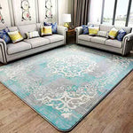 "Blanket Area Rug Collection Scroll Abstract Design Area Rug Rugs Slip Skid Resistant Backing (Blue, 7 x 8 (6'9' x 7'10""))"