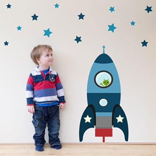 Blast off rocket wall sticker (Large size in blue) | Perfect for creating a space themed nursery or bedroom