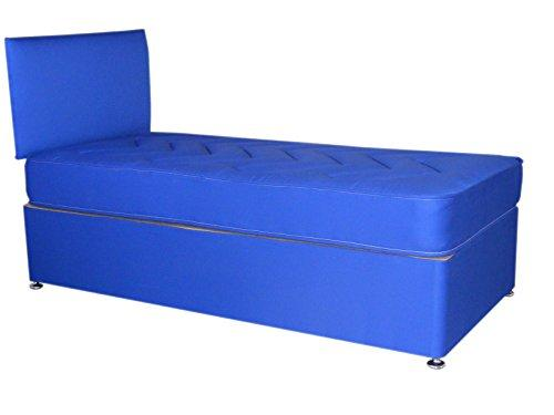 Blue Divan Bed Including Slider Storage Deep Quilt Mattress and Headboard kids children (Available in 2'6 Small Single - 3'0 Single) (3'0x6'3 Single)