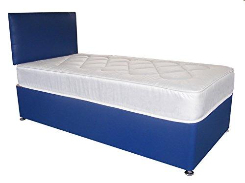Blue Faux Leather Divan Bed Including Deep Quilt Mattress and Headboard kids (Available in 2'6 Small Single - 3'0 Single - 3'6 Large Single - 4'0 Small Double - 4'6 Double) (3'0x6'3 Single)