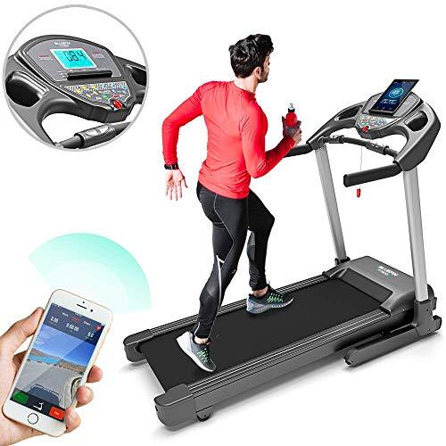 Bluefin Fitness KICK Innovative High-Speed Folding Treadmill | Quiet | 20 Km/h + 7 HP + 15% Incline | Digital Fitness Console | App + Bluetooth Speakers + Heart Rate Sensors (Matt Black)