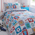 Bluezoo Kids' White 'Football' Duvet Cover And Pillow Case Set Double