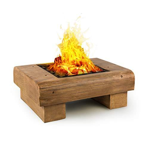 Blumfeldt Lombardia • Fire Bowl • 40x40 cm Grill Grate • BBQ Pit • Spark Protection • Magnesium Oxide Artificial Stone MagicMag • Safe and Firm Stance • Including Spark Catch and Poker • Wood Look