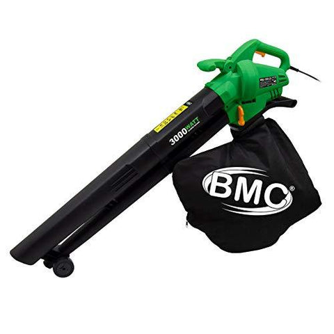 BMC 3 in 1 Leaf Blower and Vacuum with 12m Cable 3000w Garden Shredder Vac 35 Litre Leaf Vac Green 2 Year Warranty