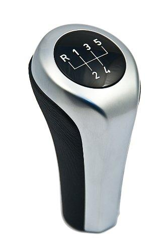 BMW Genuine Leather +Anthracite Chrome Strip Gear Stick/Shift Knob (25 11 7 536 019)