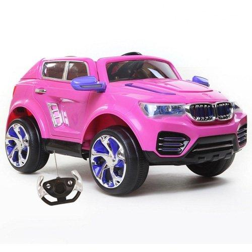 BMW Kids Ride On Electric Car X5 DK F000 Style (3 Years+) With 12V Twin Motors + MP3 Music+ Parental Remote Control + Working Headlights + 3-4 Miles Per Hour Speed + 2 Opening Doors, Pink Colour