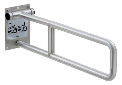 "Bobrick 4998 304 Stainless Steel Swing-Up Grab Bar, Satin Finish, 29"" Width x 8-3/4"" Height"