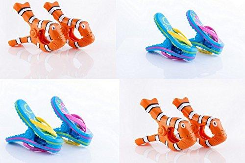 Boca Clips Beach Towel 4 PAIRS - 2 Pairs of Clown Fish & 2 Pairs of Flip Flops