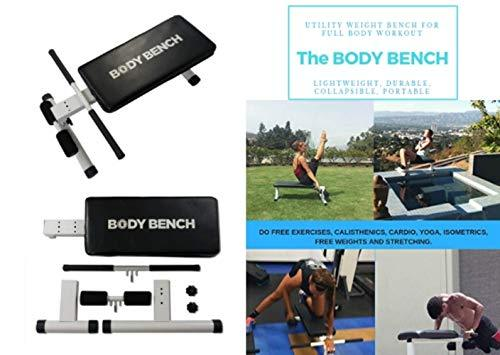 BODY BENCH, Utility Weight Bench for Full Body Workout, Lightweight, Durable, Collapsible, Portable, Can Be Used for 100 Plus Exercises, Assembles in Minutes and Approved as Carry-On Luggage
