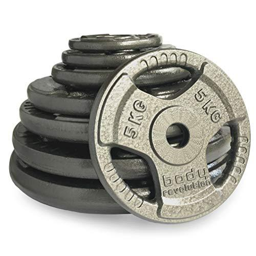 "Body Revolution 1"" Tri Grip Weight Plates - Cast Iron Weight Lifting Discs 1.25kg to 25kg (80kg Set (4x1.25kg 2x2.5kg 2x5kg 2x10kg 2x20kg))"
