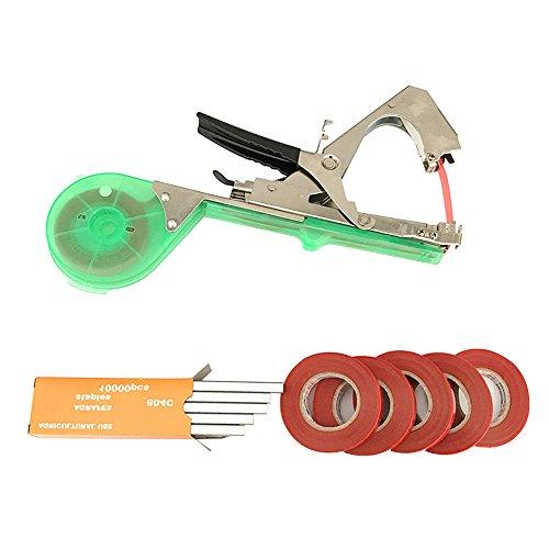 BOFEISI Tying Machine For Plant Agriculture Hand Tying Machine For Garden Fruit Flower Vegetable Vine Grape Tomato Cucumber Pepper With 5 Rolls Tape (Green)