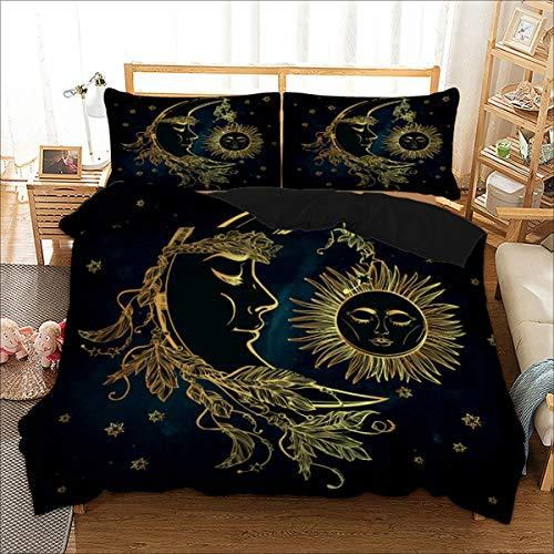 Bohemian Duvet Cover Set King Size 3D Golden Sun and Moon Printed Bedding Quilt Duvet Cover for Kids Teens and Adults Soft Microfiber Hypoallergenic Bedding Set (3 Pieces, Navy Blue)