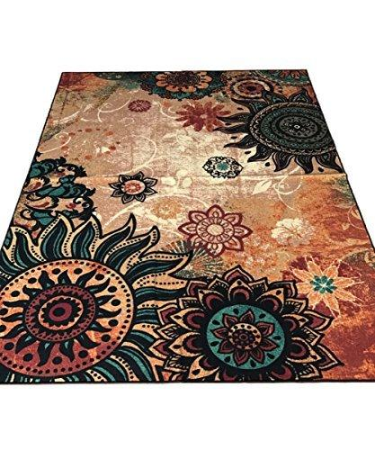 Boho Area Rugs Retro Floral - MeMoreCool Home Living Mats Protective Decorative Carpets 1PC 75 X 98 Inch