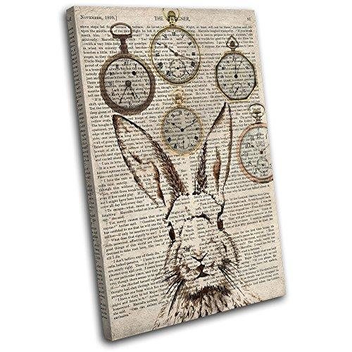 Bold Bloc Design - Rabbit Hare Shabby Clocks Old Animals 120x80cm SINGLE Canvas Art Print Box Framed Picture Wall Hanging - Hand Made In The UK - Framed And Ready To Hang