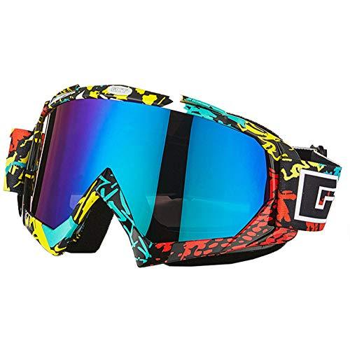 Boomly Unisex Men Ski Goggles Snowboard Skiing Goggles Glasses Anti-fog UV Protection Motorcycle Off Road Goggles Dustproof Windproof Glasses (Yellow+Red+Black+X)