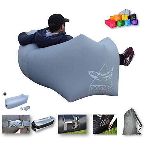 Boonana Hammock Air Lounger Premium Quality,Easy No Wind Inflate Design, 8 Colours,Bag, Waterproof, Any terrain inflatable sofa,couch,chair, air bag. Camping, Festivals,Gaming, Beach, Travel (Grey)