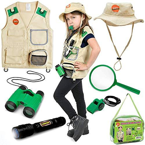 Born Toys Backyard Safari Vest and Costume with Explorer kit for Outdoor,Nature,Park Ranger,Paleontology,Zoo Keeper, Halloween,Camping,Hiking, STEM and Scientific Dress up and Role Play