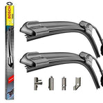 Bosch Multi Clip Twin Pack Front Window Windscreen Replacement Wiper Blades (PAIR) Includes 32ML Wurth ScreenWash