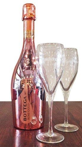 Bottega Rose Gold Sparkling WIne 75cl with 2 Bottega Flutes